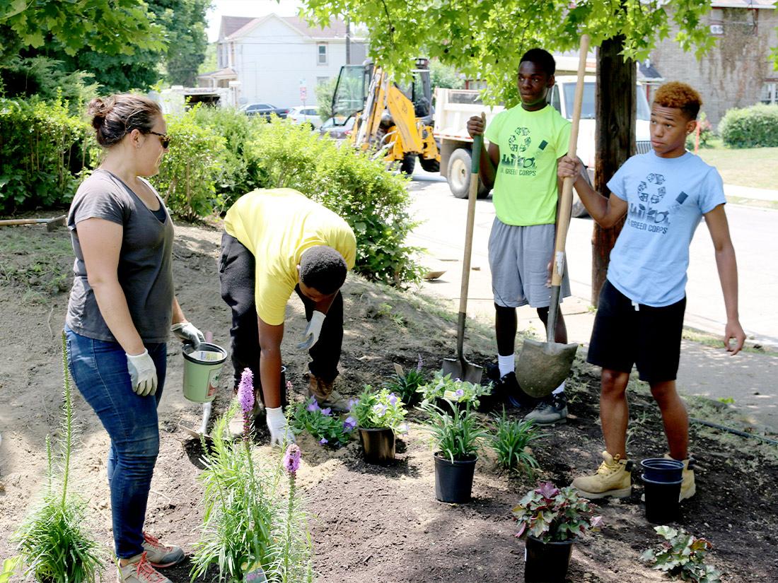 Group working in a rain garden Pittsburgh PA