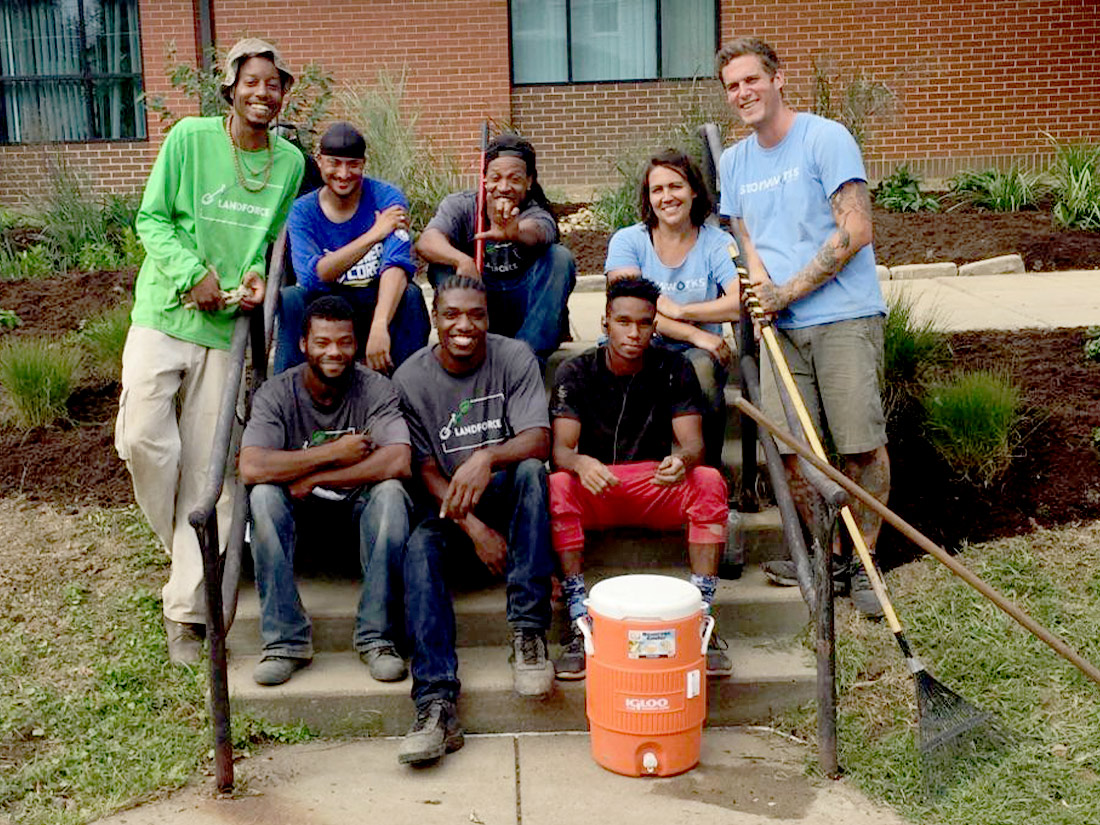 Group photo after rain garden construction Pittsburgh PA