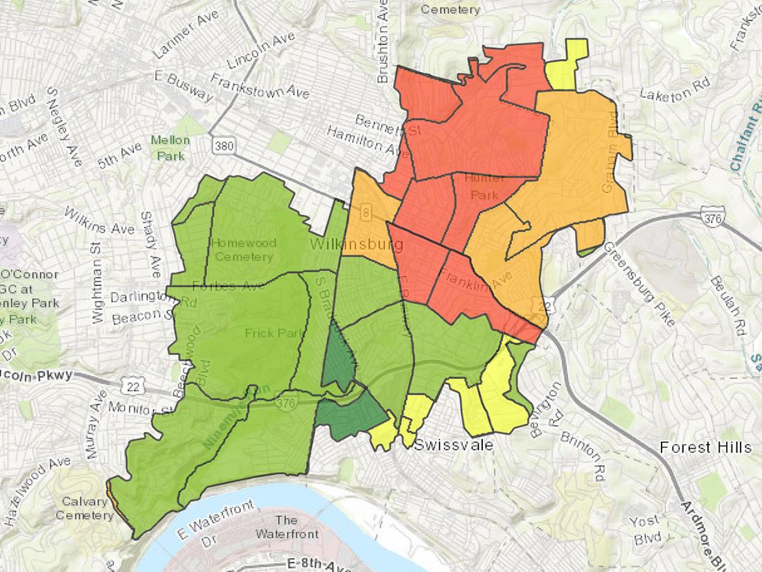 Nine Mile Run Environmental Equity Study map