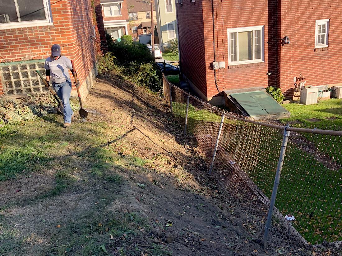 Hillside while working on pollinator garden Pittsburgh PA