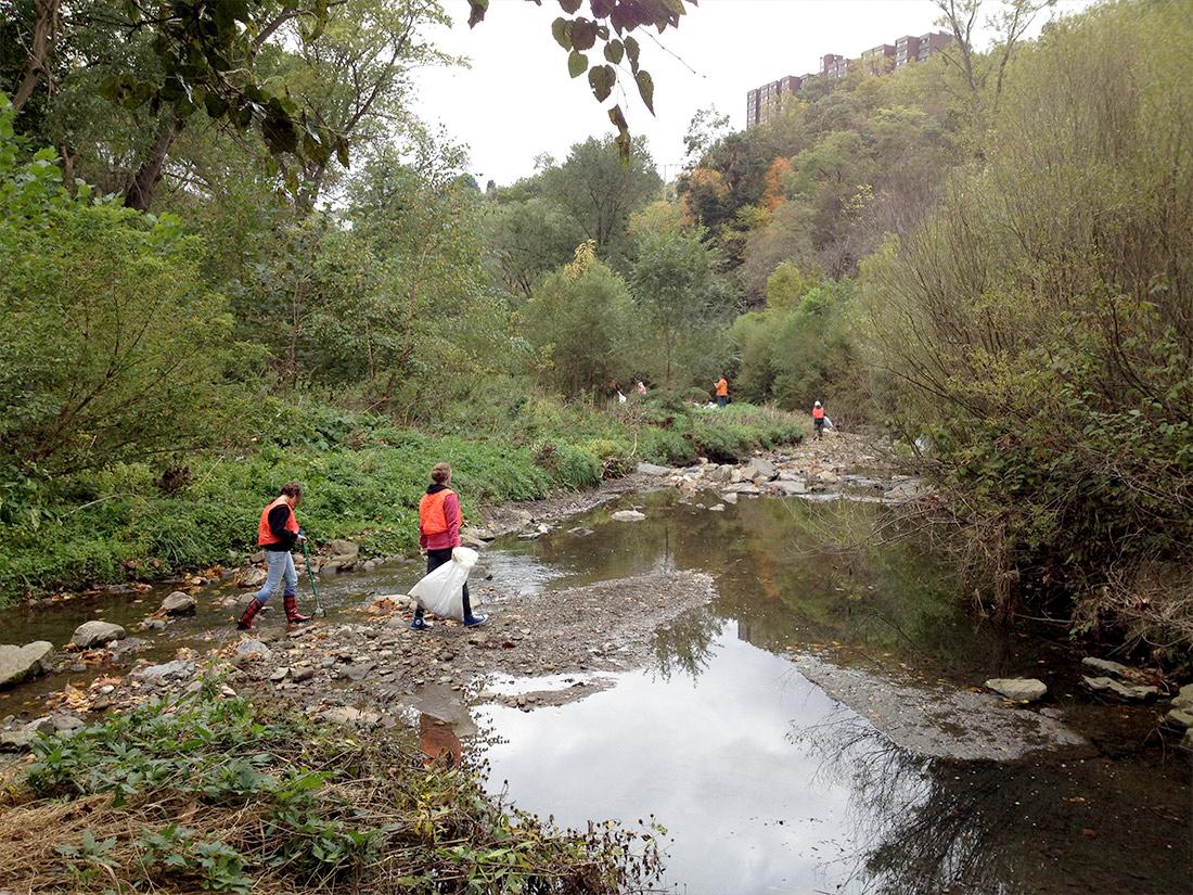 Volunteers cleaning Nine Mile Run Stream