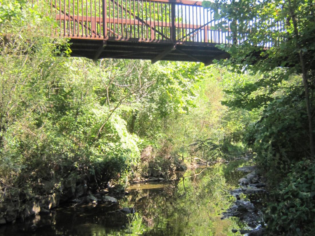 Nine Mile Stream under a bridge Pittsburgh PA