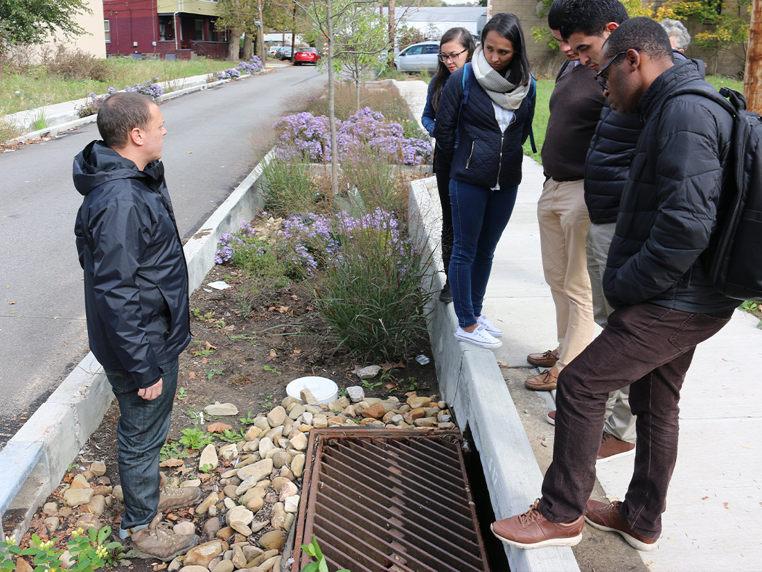 Talking with group about a storm drain Pittsburgh PA