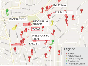 East Hills cleanup map